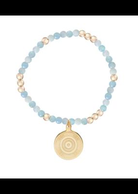 Worthy Pattern 4mm Bead Bracelet - Athena Small Gold Charm Aquamarine