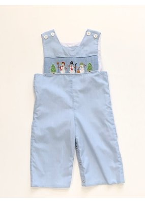 Mom and Me Mom and Me Blue Smocked Longall w/Snowmen emb 18mos
