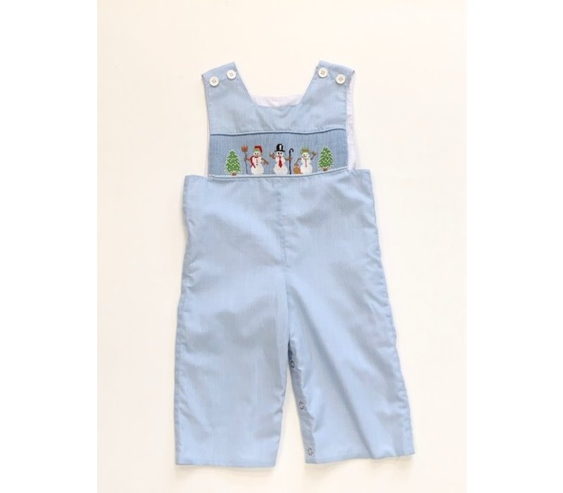 Mom and Me Blue Smocked Longall w/Snowmen emb 18mos