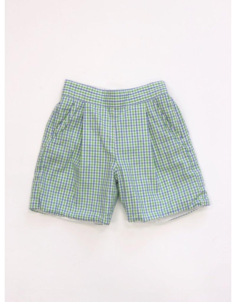 Beauxet Belles Beauxet Belles Blue & Green Gingham Shorts Size 3T