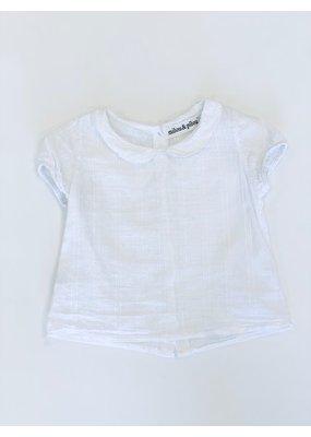 milou&pilou Milou & Pilou Short Sleeve Blouse White 2T