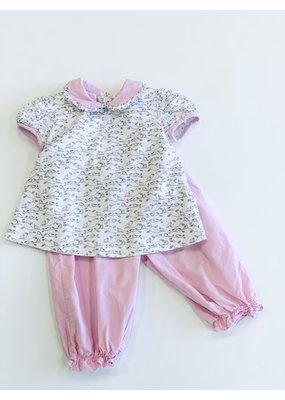 Little English Petit Bebe Bird Print Pantaloon Set Pink 2T