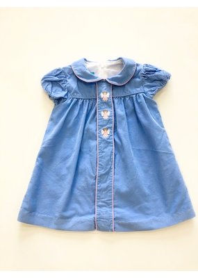Anavini Anavini Hand Smocked Angel Float Dress Blue Corduroy 24m