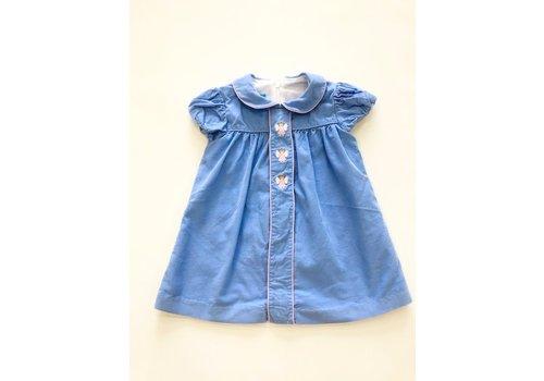 Anavini Anavini Hand Smocked Angel Float Dress Blue Corduroy 24m