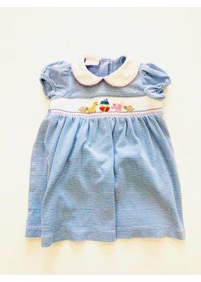 Petit Bebe Petit Bebe' Noah's Ark Bishop Dress Blue Stripe 2T