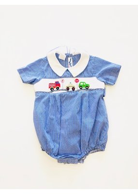 Silly Goose Hand Smocked Blue Gingham Cars Bubble 12M