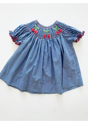 Claire & Charlie Claire and Charlie Blue/White Gingham Smocked Cherry Dress 2T