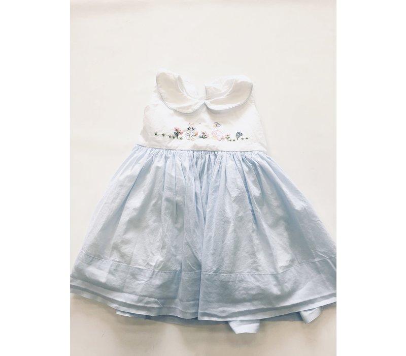 Christian Elizabeth & Co. Peter Rabbit/Mother Goose Dress Blue/Wht 2T