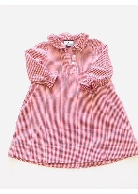 Petite Plume Petite Plume Red Gingham Long Sleeve Ruffle Dress 12/18m