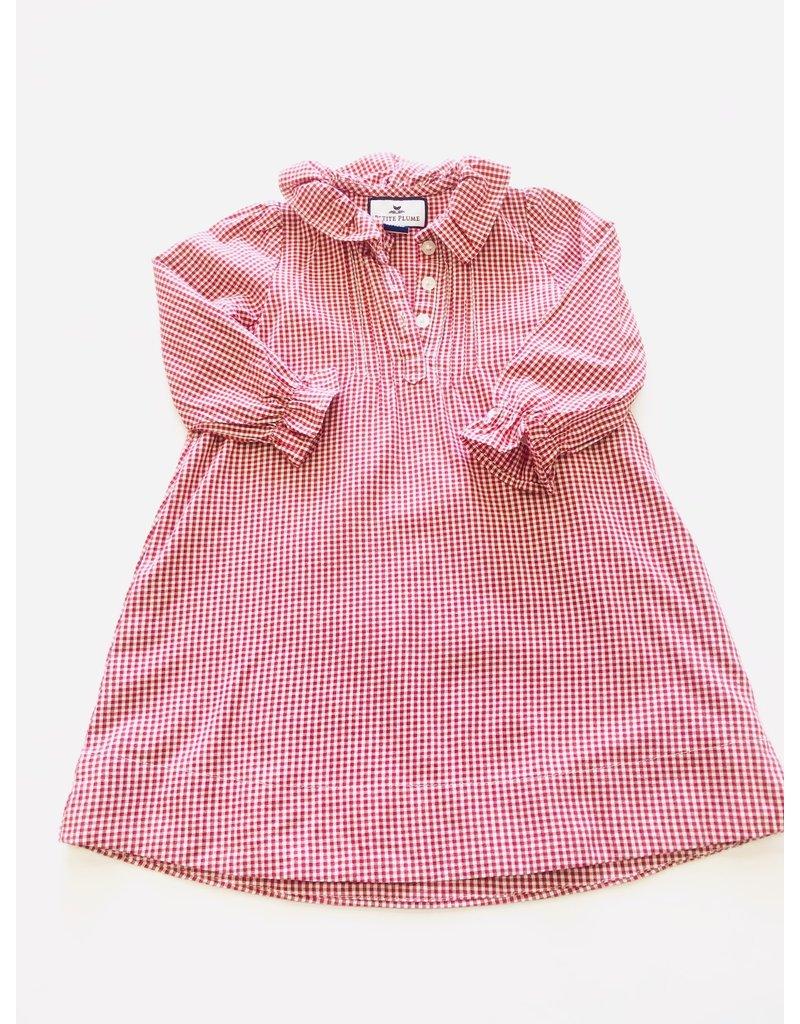 Petite Plume Petite Plume Red Gingham Long Sleeve Ruffle Dress 12/18m