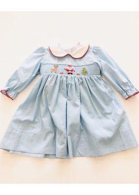 Petit Bebe Petit Bebe' Lt Blue/Wht Smocked Santa Dress 9m