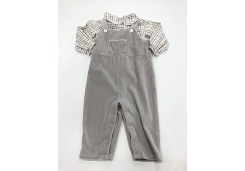 Bella Bliss Gray Velour Jon Jon with Plaid Shirt 24M
