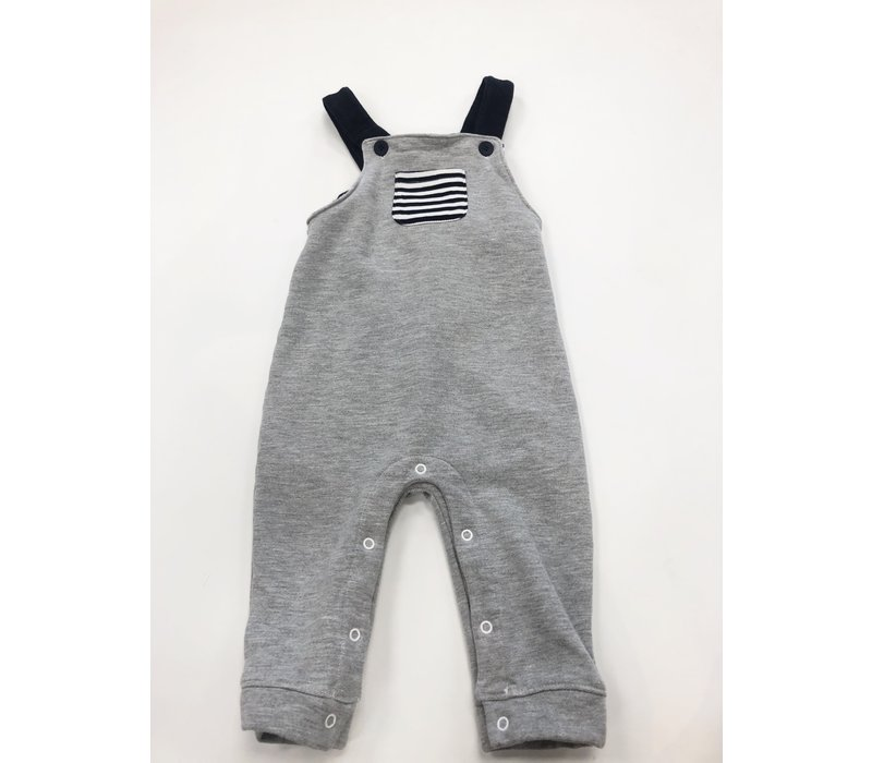 Bella Bliss Gray Cotton Jon Jon with Navy Stripes 18M