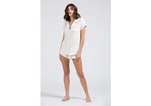 Eberjey Eberjey Gisele Printed The Short PJ Set White/Rose Tan