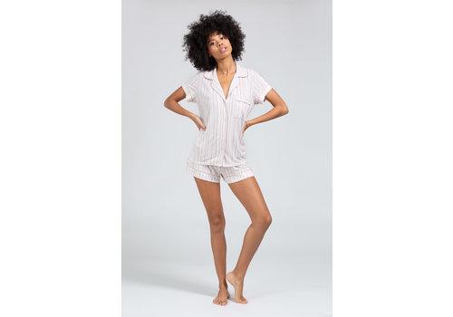Eberjey Eberjey Gisele Printed The Short PJ Set White/Artisanal Pink