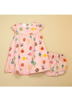 Viverano Viverano Ruffled Cap Sleeve Dress w/Bloomer Set - Veggie Salad/Blush