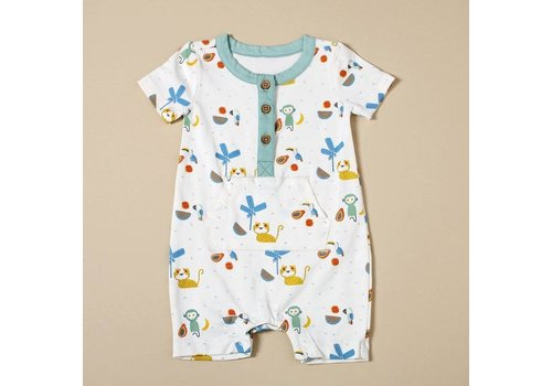 Viverano Viverano Kangaroom Pocket Romper - Tropical Jungle/Natural