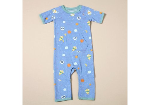 Viverano Viverano Short Sleeve Coverall Romper - Space Dream/Blue