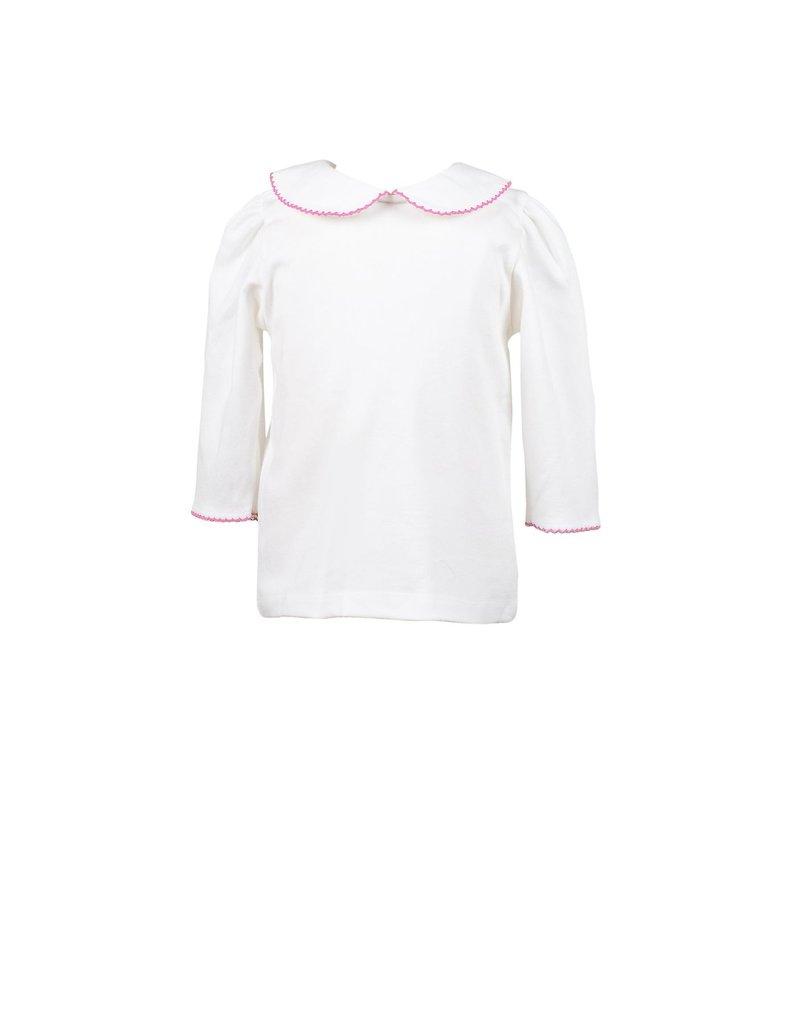 Proper Peony Proper Peony White w/Pink trim shirt 3/4 sleeve