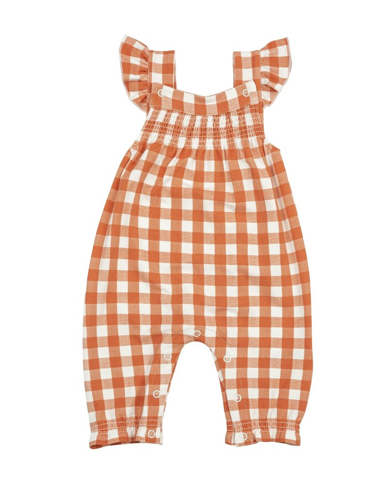 Angel Dear Angel Dear Gingham Pumpkin Smocked Front Coverall