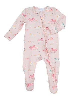 Angel Dear Angel Dear Girl Ponies Ruffle Front Zipper Footie Pink