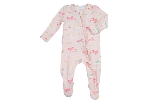 Angel Dear Angel Dear Girl Ponies Ruffle Front Zipper Footie Pink