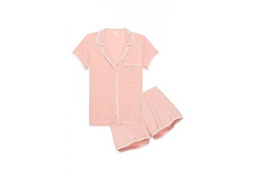 Eberjey Eberjey Frida Whip Stitch Short PJ Set in Rose Tan/Ivory