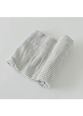 Little Unicorn Little Unicorn Cotton Muslin Swaddle Blanket Grey Stripe