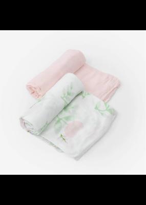 Little Unicorn Little Unicorn Deluxe Muslin Swaddle Blanket Set Blush Peony