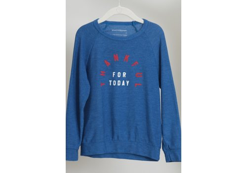 Good Hyouman Good Hyouman Mini Dave Kids Pullover in Montauk Blue - Thankful for Today