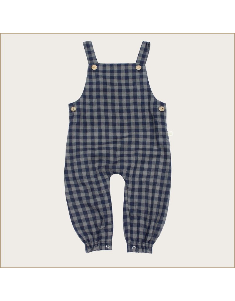 Charming Mary Charming Mary Midnight Sage Gauze Gingham Overall