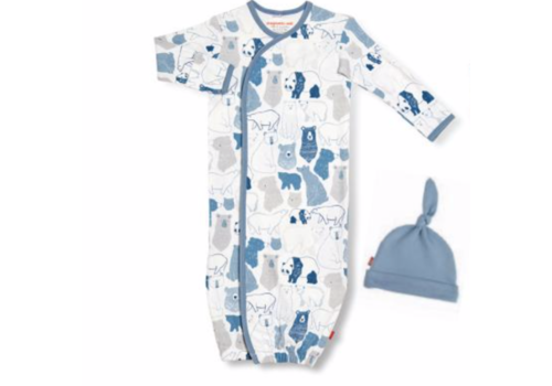 Magnetic Baby Magnetic Me Unbearably Cute Organic Gown & Hat NB