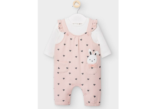 Mayoral Mayoral Romper in Dusty Pink - hearts and bunny