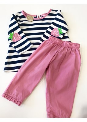 The Beaufort Bonnet Company The Beaufort Bonnet Company Navy Stripe Strawberry Elbow Tee & Pink Pants 12m