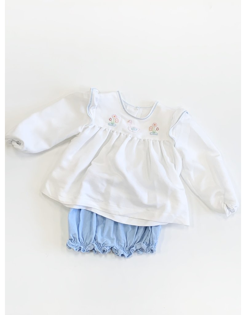 Little English Little English Swan and Flowers with Blue Bloomers 2T