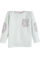 Bisby Bisby by Little Englis Breton Top Kensington Floral Green Stripe