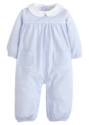 Little English  Window Pane Romper - Lt Blue