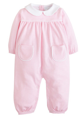 Little English Window Pane Romper - Lt Pink