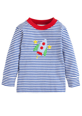 Little English Little English Rocket Applique T-shirt - Royal Stripe