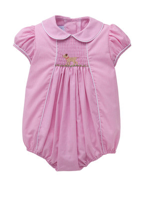 Little English Little English  Lab Chest Smocked Bubble - Girl - Pink Gingham