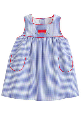 Little English Little English  Madison Jumper - Wagon in Blue gingham