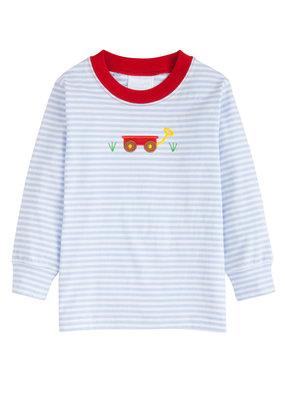 Little English Little English  Wagon Applique T-shirt Boy in Blue Stripe