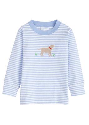 Little English Little English Lab Applique T-shirt - Boy - Light Blue Stripe