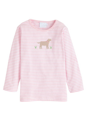Little English Little English Lab Applique T-shirt Girl in Lt Pink Stripe