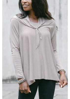Cobblestone Living Seraphina L/S top w/scarf in Taupe