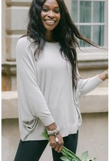 Cobblestone Living  Vera Raglan Sleeve Pullover in Taupe