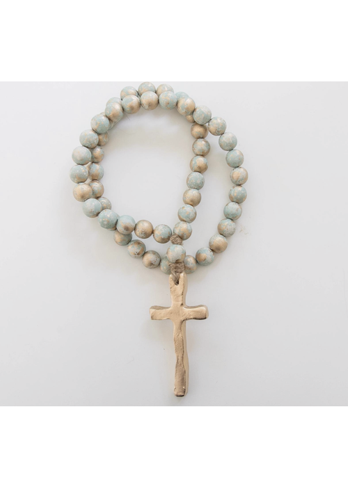 """Sercy Studio Sercy Turquoise/gold Jeanie Blessing Beads 24"""""""