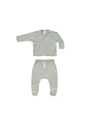 Quincy Mae Quincy Mae Kimono Top + Footed Pant set Sage