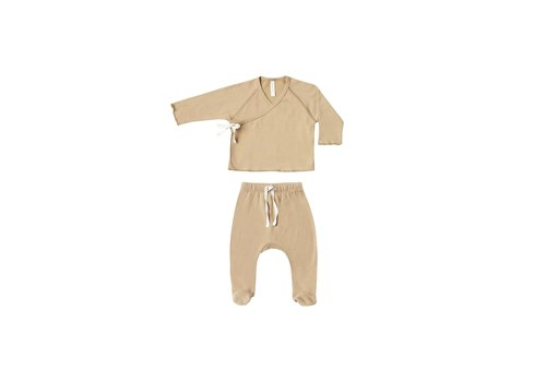 Quincy Mae Quincy Mae Kimono Top + Footed Pant set Honey