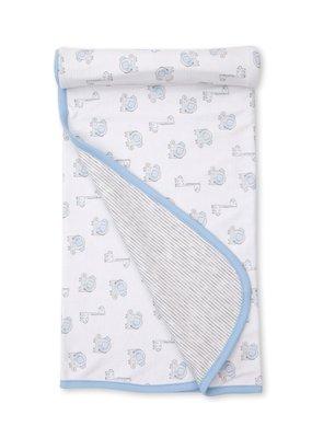 Kissy Kissy KK Reversible Blanket - Sappy Sidekicks  Lt Blue/Gray